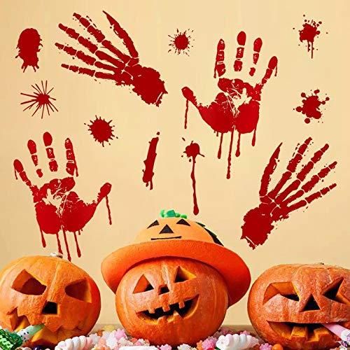 xuritaotao Terror Blut Handabdruck Halloween Wandaufkleber Blut Fußabdruck Windows Aufkleber Neueste Halloween Dekoration Urlaub Aufkleber