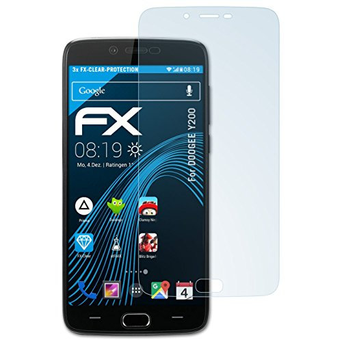 atFolix Schutzfolie kompatibel mit DOOGEE Y200 Folie, ultraklare FX Bildschirmschutzfolie (3X)