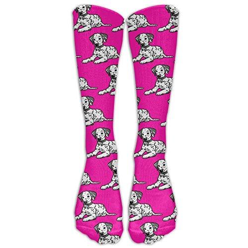 DAICHAI Highly Elastic,Durable, Flexible,Comfortable,Excellent Gift Choice Dalmatian Dog Pattern Unisex Novelty Premium Calf High Athletic Sockens Fashional Tube Stockings Size 6-10 -