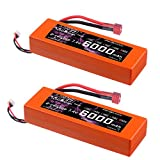 HRB 7.4V 6000mAh LiPo Akku Pack 60C 2S Hardcase mit T Stecker für RC Evader BX Auto Car Truck LKW Truggy RC Hobby EFRA Approved (2pack)