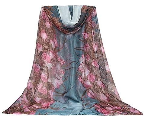 DAMILY Elegante Wickelkleid Rose Drucken Lange Sommerkleider