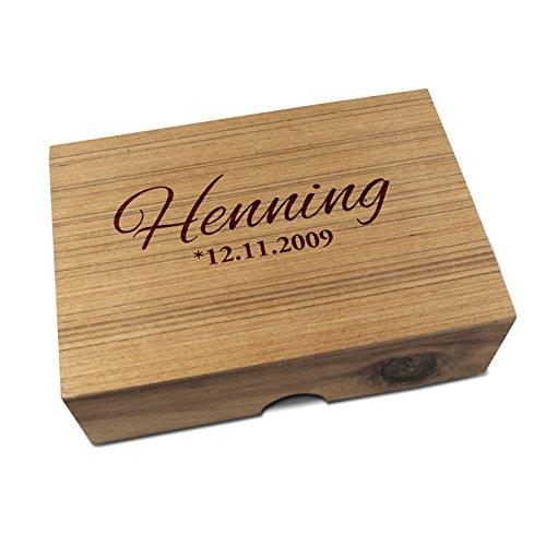 IQ MASTER - 6er Knobelspiele Set in edler Holz Schachtel - Personalisiert mit Wunschtext - Sechs Geschicklichkeitsspiele als Geschenk-Idee für Männer Frauen Kinder - Holzspielzeug für Rätselfans