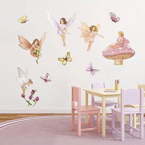 r Fee mit Flügeln Schmetterling Wandtattoo Kinderzimmer Mädchen Wandaufkleber Entfernbarer Wanddekoration für Babyzimmer Wohnzimmer Schlafzimmer (Fee Mit Flügel)