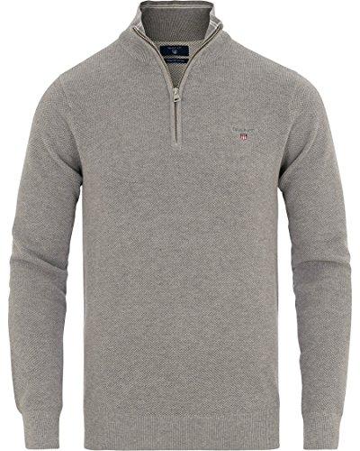 GANT Herren Pullover Piqué Halfzip Grau (Grey Melange)