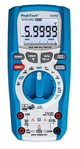 PeakTech 3442 - True RMS Digital Multimeter für Elektriker mit 60000 Counts & 4.0 Bluetooth, Profi-Handmultimeter, Auto-Hold, TÜV/GS, Spannungsmesser, Durchgangsprüfer, Messgerät - CAT III 1000V