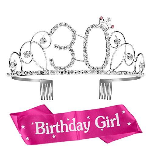 Wolintek Geburtstags-Krone 30. Geburtstags Kristall Tiara Krone mit Geburtstags-Schärpe (30. Geburtstag Tiara)