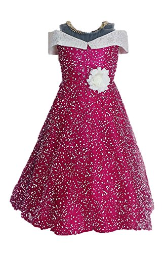 My Lil Princess Girls' A-Line Maxi Dress Purple Polka_7-8 Years