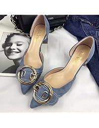 Solo Zapatos Zapatos de Mujer Salvaje boca superficial plana de satén con ese azul 35