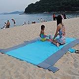 VI Ai arena prueba al aire libre compacta playa impermeable manta de gran tamaño XXL 7'x9' Ripstop ligero ideal para la playa, Picnic, Camping 5weightable bolsillos + 4Pasadores de anclaje y estacas