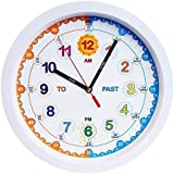 Amonev Time Teacher Children Wall Clock With Silent Movement. 30 Centimeter Diameter