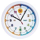 silenzioso Orologio da parete, insegna ai bambini a leggere e dire all'istante il tempo con questo orologio a movimento silenzioso, bianco, diametro 30 cm