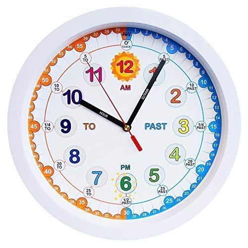 AniClock Amonev Time Teacher Kinder-Wanduhr mit geräuschlosem Uhrwerk. 30 cm Durchmesser.