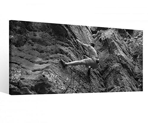 Leinwandbild 1 Tlg Freeclimbing Felsen Klettern Extrem schwarz weiß Leinwand Bild Bilder Holz gerahmt 9U1251, 1 Tlg BxH:80x40cm