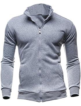 BYSTE Sweatshirts Uomo Autunno Sport di svago Cardigan Cerniera Felpe Top Giacca Cappotto