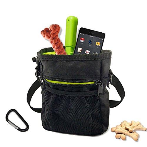 Splink Hunde Leckerli-Tasche Futterbeutel Trainingsbeutel mit D-Ring Haken, Gürtelclip, verstellbarer Tragegurt und Kotbeutelspender für Outdoor Hundetraining