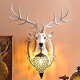 Thorecrdh Nordeuropa Retro-stil kreative Wohnzimmer Restaurant Korridor Korridor Hintergrund personalisierte Geweih Wand Lampe, weiße Hirsche Fu Rimmon Mittlere Wand