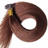 Extensions en Cheveux Naturels Pose a Froid - 55cm - 100 mèches(0.5g/mèche) - Pre bonded I-tip Remy Hair Extensions - #04 Marron chocolat