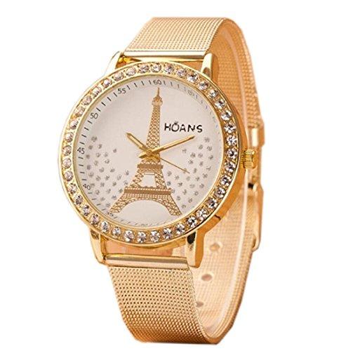Tongshi De malla de acero Ladies Torre de Cristal de Oro inoxidable banda reloj de pulsera