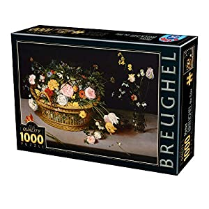 D-Toys 75833/BR 04 - Puzzle (1000 Piezas), diseño de Breughel el Elder Flowers en una Cesta y un jarrón
