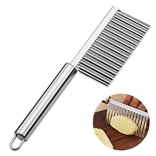 ouborui cortador ondulado con mango largo de acero inoxidable fruta vegetal cortador francés Fry cortar cuchillo