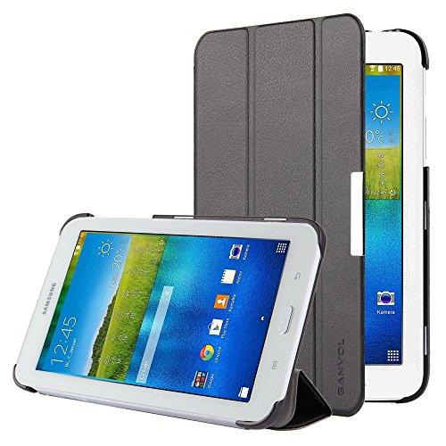 Ganvol Samsung Galaxy Tab 3 7.0 Lite 2015 Ledertasche Hülle Leder Schutzhülle, PREMIUM PU Leder Case, mit Standfunktion und Automatischem Schlaf Funktion, Kunstleder, Ultra Dünn, schwarz