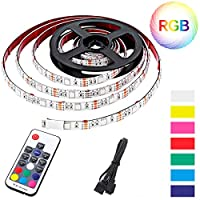 CAVEEN LED Strip Light (2m) RGB SMD 5050 LED Rope Lighting Color Changing Full Kit with 17-keys IR Remote Controller & LED Lighting Strips for Home Lighting Kitchen Christmas Indoor Decoration