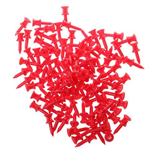 100pcs Professionelle Golf-Tees, Farbe und Länge Auswählbar - Rot, 32mm