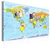 murando - Weltkarte Pinnwand & Vlies Leinwandbild 90x60 cm 1 Teilig Kunstdruck modern Wandbilder XXL Wanddekoration Design Wand Bild - Landkarte k-A-0094-v-a