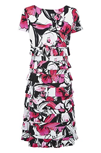 Roman Originals Damenkleid, Kurzarm, Florale Rüschen, Kirschrot Rosa