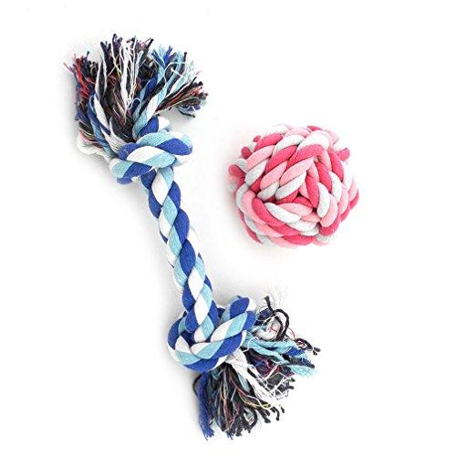 ranphy Kleiner Hund/Katze 2Stück Seil Spielzeug für Training und Spielen Puppy Zahnen Toys Bälle als Zahnseide -