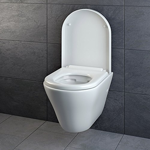 Design Wand Hänge WC ohne Spülrand Spülrandlos Toilette Sitz Softclose hängend 5 - 5