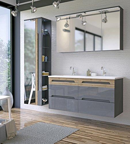 /Badmöbelanlage/Komplettbad 6-teilig in Graphit Hochglanz/Blenden Holzdekor, Doppel-Waschtisch 120 cm, LED-Beleuchtung ()