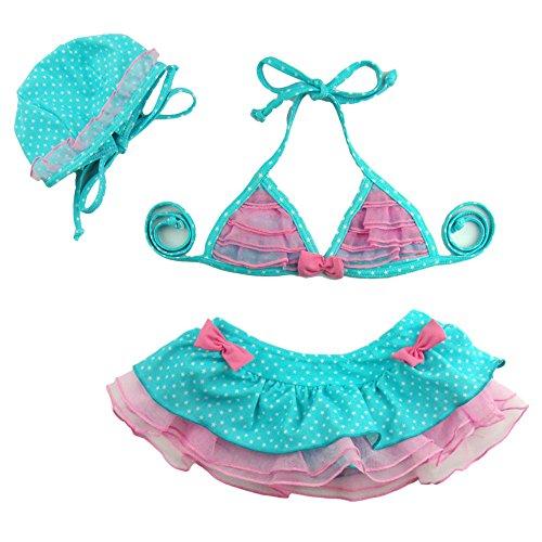 Baby Mädchen Kinder Kleinkinder Bikini Sets Leopard Rüschen Tutu Bademode Cute Polka Dots Bikini Neckholder Tankini 3 Set Badeanzug Badeanzug Beachwear Geschenk oben + unten + Hat (Dots Tie-dye)