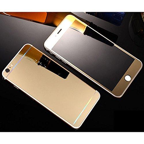 Avant et Arriere Protecteur d'écran en Verre Trempé Pour Apple iPhone 6 Plus / 6S Plus 5.5 Ecran - Yihya 9H Premium Miroir Effet Complet Tempered Glass Film Protection,Bords Arrondis - Bleu(Blue) doré