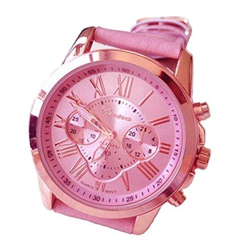 Relojes Pulsera Mujer,Xinan Imitación de Cuero Analógico Cuarzo Relojs (Rosa)