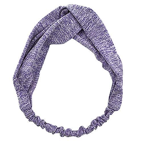 Haarbänder für Yoga Sport Damen Twist Knot Stirnband Elastic Wrap Turban Haarband Tägliches Tragen(Lila,free)