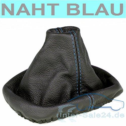L&P A0035 Soufflet Sac Manchette manchon de commutation 100% cuir véritable veritable noir noire couture fil bleu bleue transmission manuelle boîte boite vitesse vitesses changement vitesse