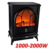 GreenBay Log Burning Effect Fire Place Fireplace Free Standing Stove Heater Fan 1000/2000W