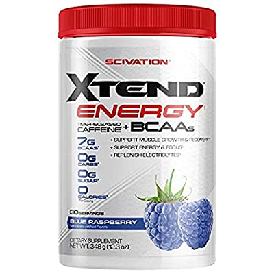 Scivation Xtend Energy BCAA Powder for Pre Workout Or Anytime Energy with Caffeine, Branched Chain Amino Acids, BCAAs, 30 Servings by Scivation