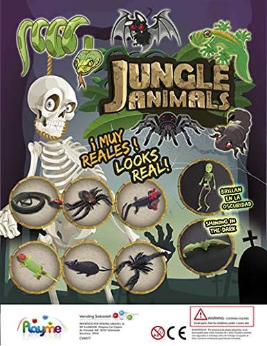 10 x Large Mixed Stretchy Dschungel LIFE Tier Spielzeug (GLÜHEN IN DARK) - Spaß Taschen Geld Kinder Spielzeug, Party Tasche Filler / Füllung oder Pinata Preis