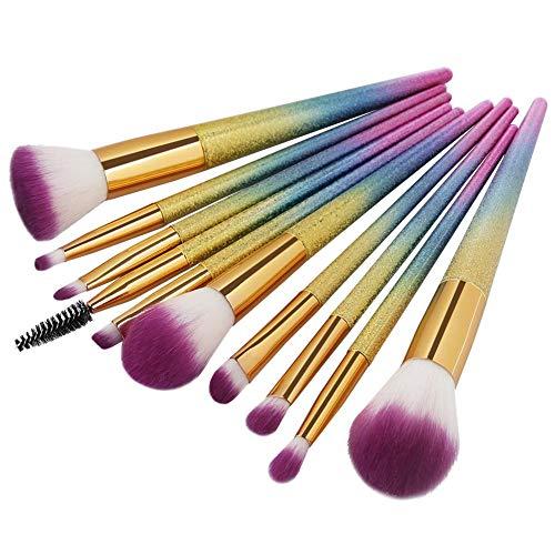 JUJA Make-up-Pinsel Make-up Pinsel Set Peeling Regenbogen Griff Kosmetik Rouge Pulver Blending...