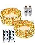 100 LED 10M x 2 Stück TaoTronics Lichterkette USB Weihnachtslicht Warmweiß Draht Wasserdicht Stimmungslichter, 8 Lichtmodi & 15 Helligkeitsstufen für Außen Innen Zimmer Weihnachten Party