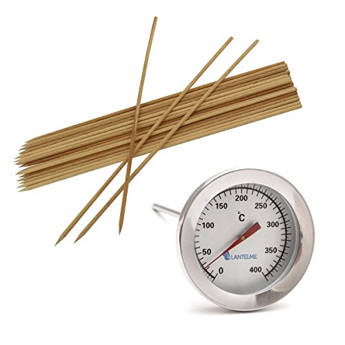 Lantelme 5025 Thermometer Set and BBQ Skewers Wood. 400 �C Oven / Stainless Steel Holzbackofen / Oven / Grill Thermometer with Clip Analogue / Bimetal. Wooden Skewers Set of 25