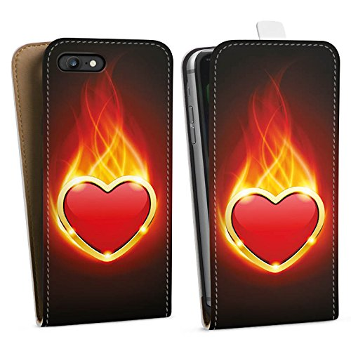 Apple iPhone X Silikon Hülle Case Schutzhülle Herz Liebe Flammen Downflip Tasche weiß