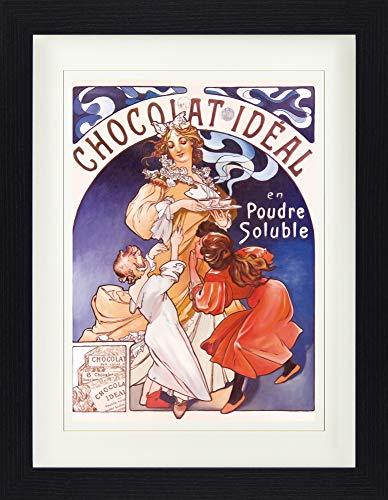 1art1 113880 Alphonse Mucha - Chocolat Idéal, 1897 Gerahmtes Poster Für Fans Und Sammler 40 x 30 cm -