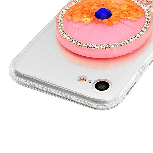 MAXFE.CO Coque Etui Protection iPhone 7 en PC + TPU Sable Découlée Housse Antichoc Case Cover Accessoire Coques pour iPhone 7 - Campanule Orange Campanule Orange