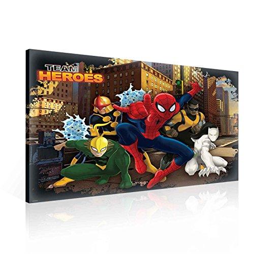 Marvel Team Heroes Impression sur toile-Impression photo-O1-100cm x 75cm-Premium 260g/m² sur toile, à la main, solide Cadre en panneau MDF-2.6cm d'épaisseur-intégrée à suspendre Crochet-Marvel Spiderman Collection-(Ppd23o1)