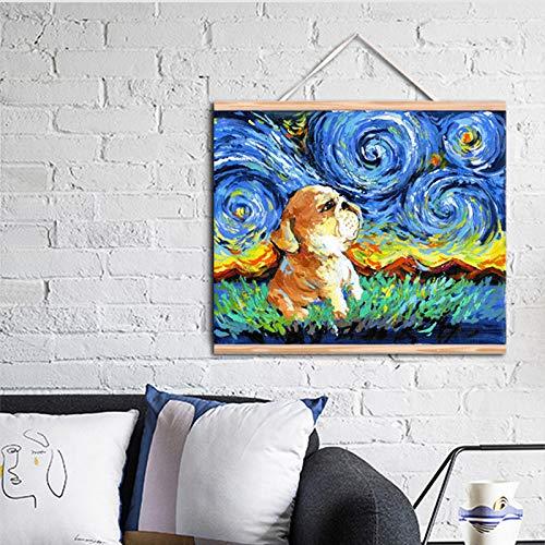 RTCKF Art Star Night House Mix Originale Cane Pittura ad Olio Animale Tela Wall Art Pittura murale Soggiorno Decorazione di Alta qualità Vita (Senza Cornice) A2 40x50 CM
