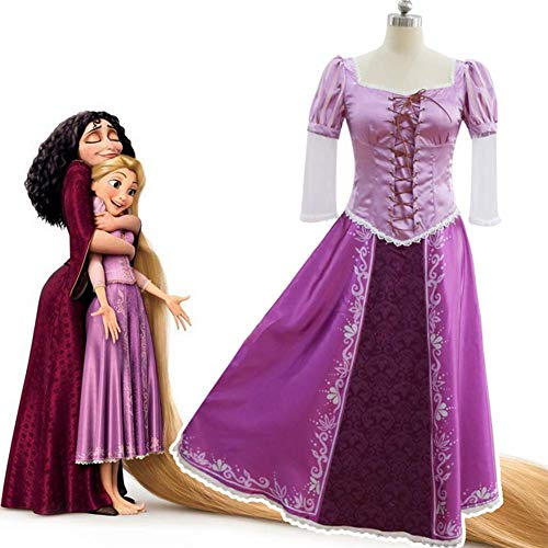 GGOODD Disney Tangled Rapunzel Cosplay Kostüm Lila Prinzessin Kleid Halloween Faschings Kostüm Für Erwachsene (Rapunzel Kostüm Für Erwachsene)