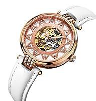 BUREI Esqueleto Movimiento Rose Golden Dial Sapphire lente Reloj Automático Reloj De Pulsera Para Mujer Con Correa de piel color blanco de BUREI